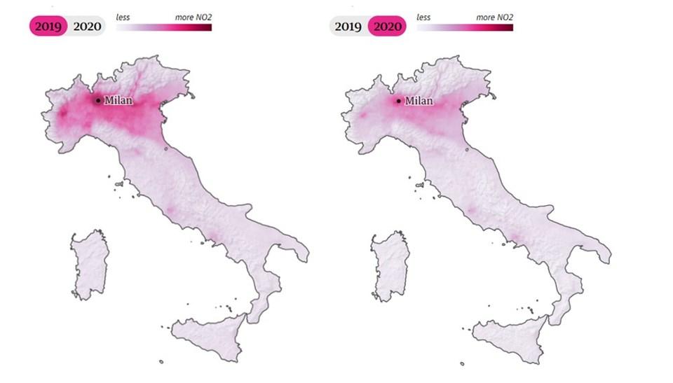 İtalya'dakihava kirliliği oranı uydu fotoğraflarına böyle yansıdı