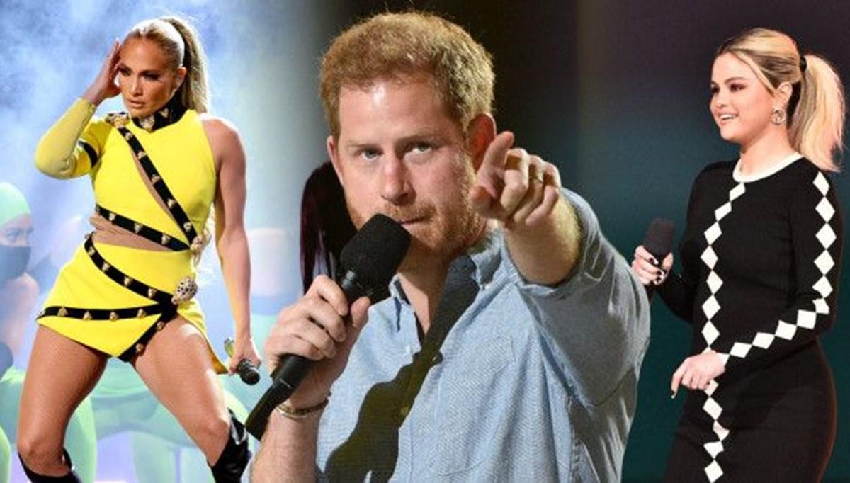 Prens Harry, Jennifer Lopez ve Selena Gomez aşı konseri için bir araya geldi