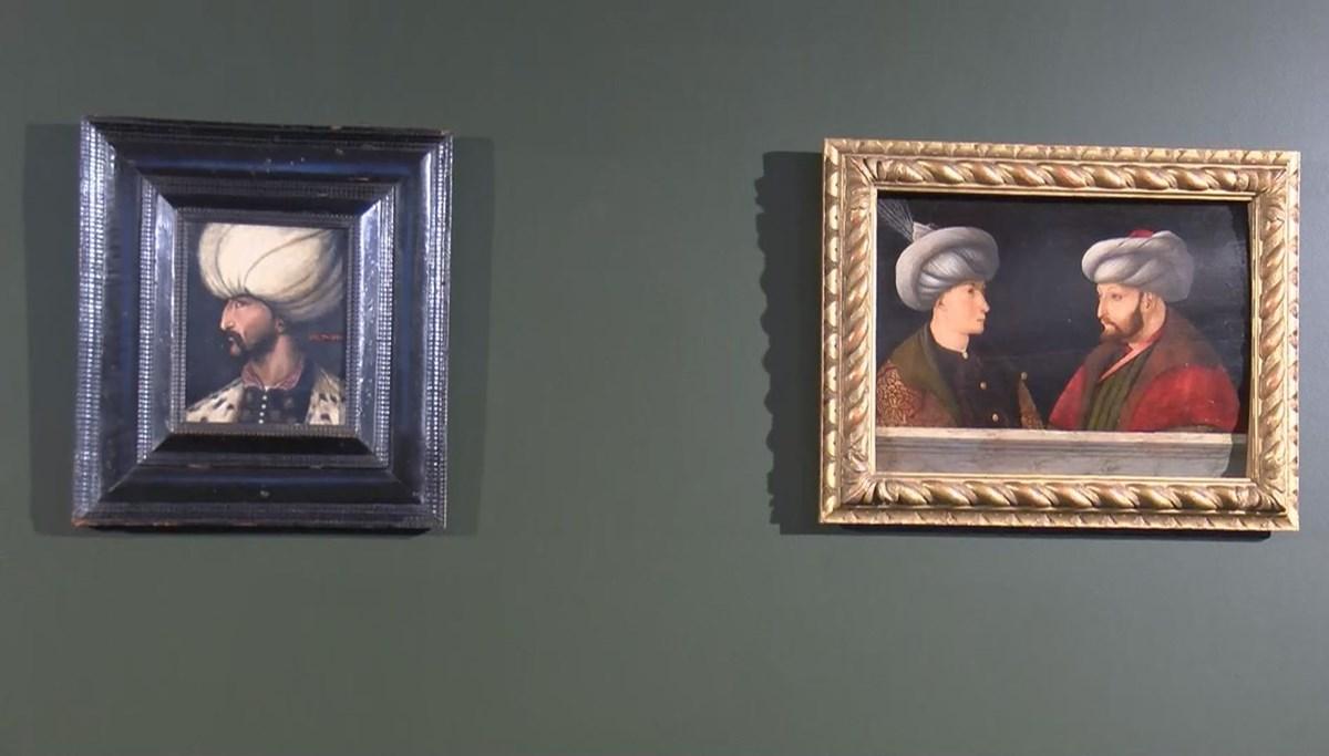 Kanuni Sultan Süleyman portresi Fatih Sultan Mehmet'in portresinin yanında