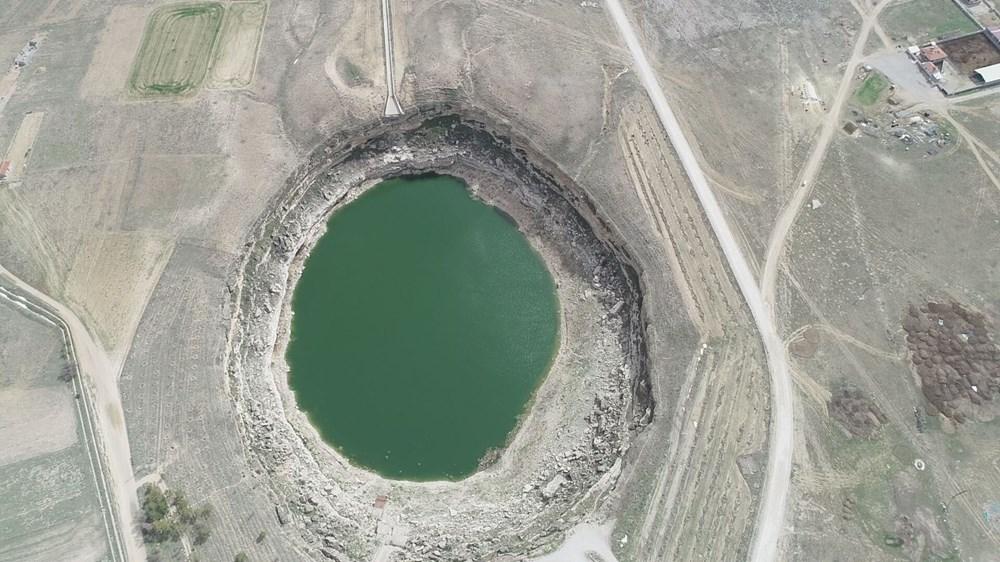 Timraş Obruk Gölü'nün suyu 8 metre azaldı - 9