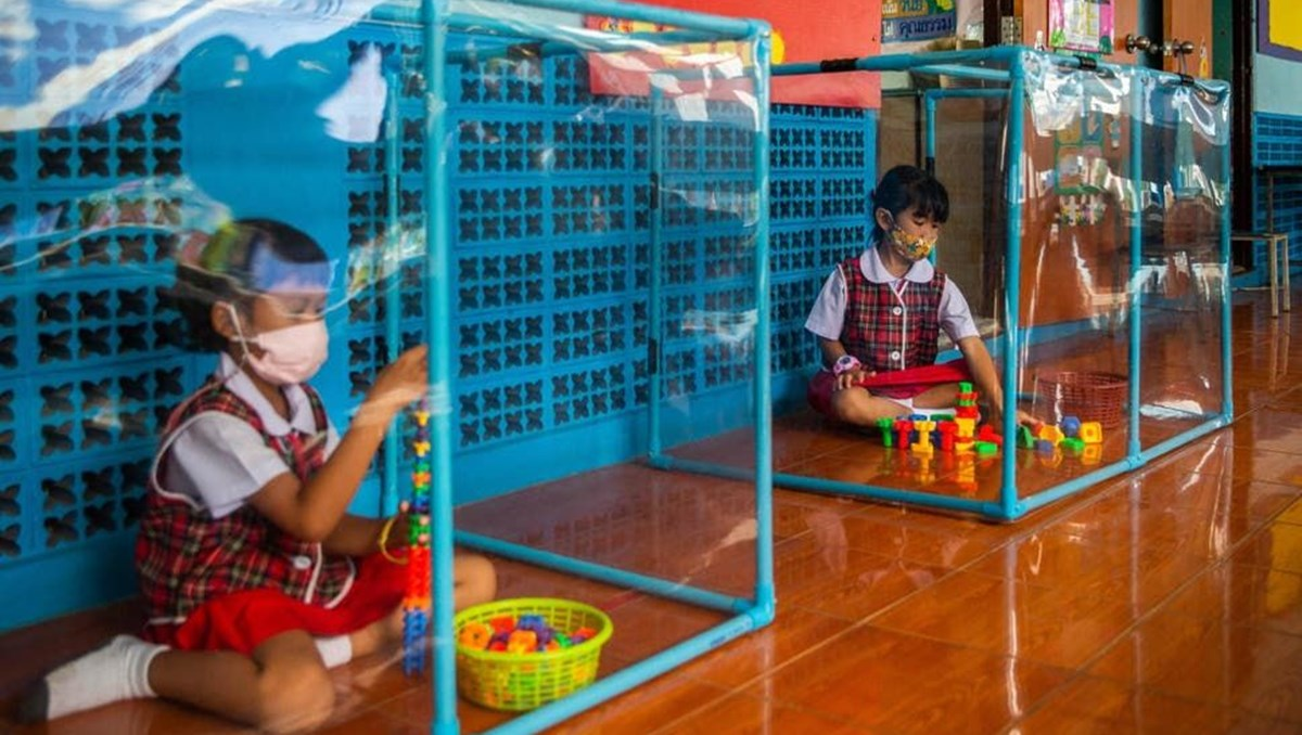 Corona virüs etkisi: Tayland'da sosyal mesafeli anaokulu