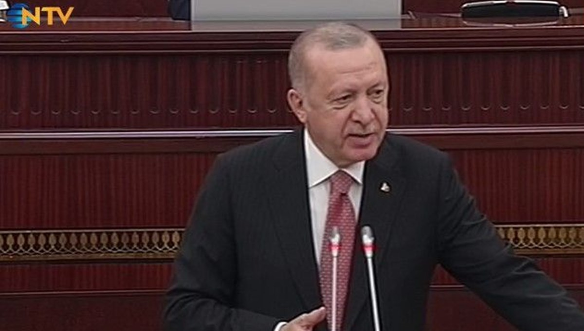SON DAKİKA: Cumhurbaşkanı Erdoğan Azerbaycan Milli Meclisi'nde
