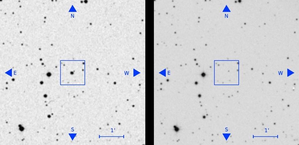 Bilim insanlarının mercek altına aldığı kayıtlardan bir tanesi. Soldaki fotoğrafta bir ışık saptanıyor. Daha sonra aynı bölge incelendiğinde söz konusu ışık saptanamıyor.
