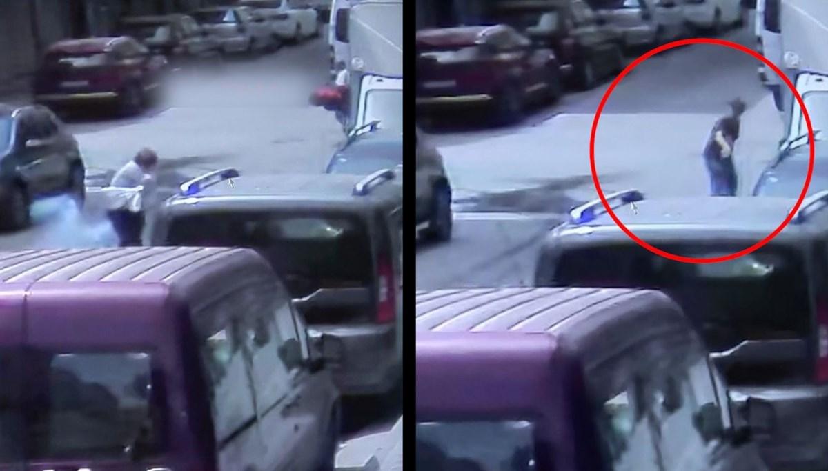 Önce maytap attı, yaralanan kadını görünce yardıma koştu