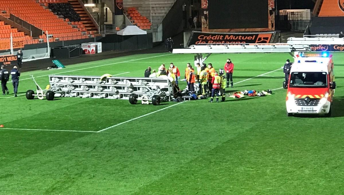Lorient-Rennes maçının ardından üzerine projektör düşen görevli hayatını kaybetti