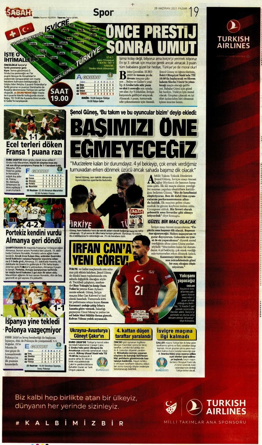 Günün spor manşetleri (20 Haziran 2021) - 17
