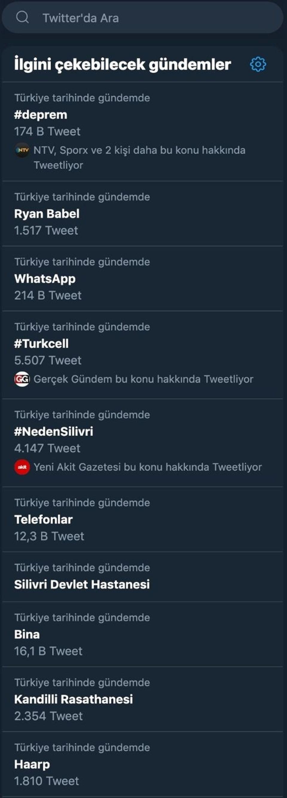 Dün meydana gelen deprem sonrası yaşanan iletişim sıkıntısı sosyal medyada geniş yer buldu. Kullanıcıların #WhatsApp, #Turkcellve #Telefonlarhashtag'iile yaptıkları paylaşımlarTwitter'ınen çok paylaşılan konularından oldu.