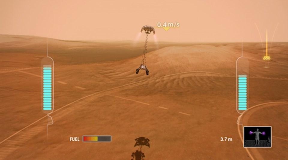 Curiosity iniş simülasyonundan bir görüntü.