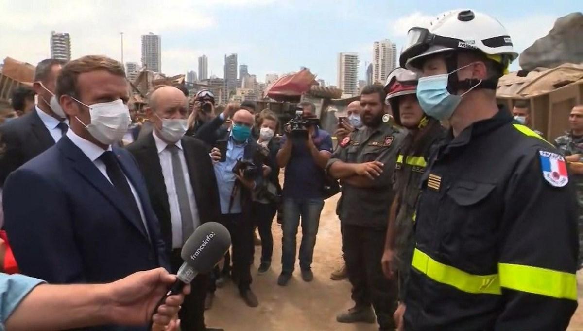 Macron: Lübnan'a koşulsuz yardım öncelikli olmalı