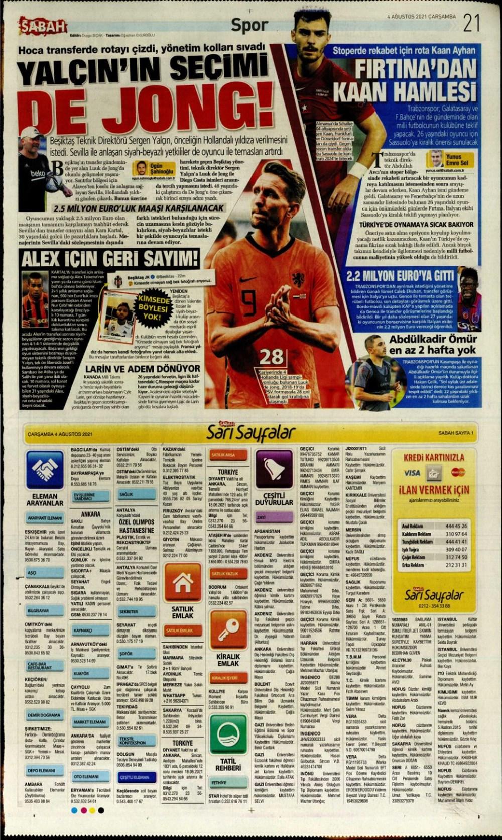 Günün spor manşetleri (4 Ağustos 2021) - 7