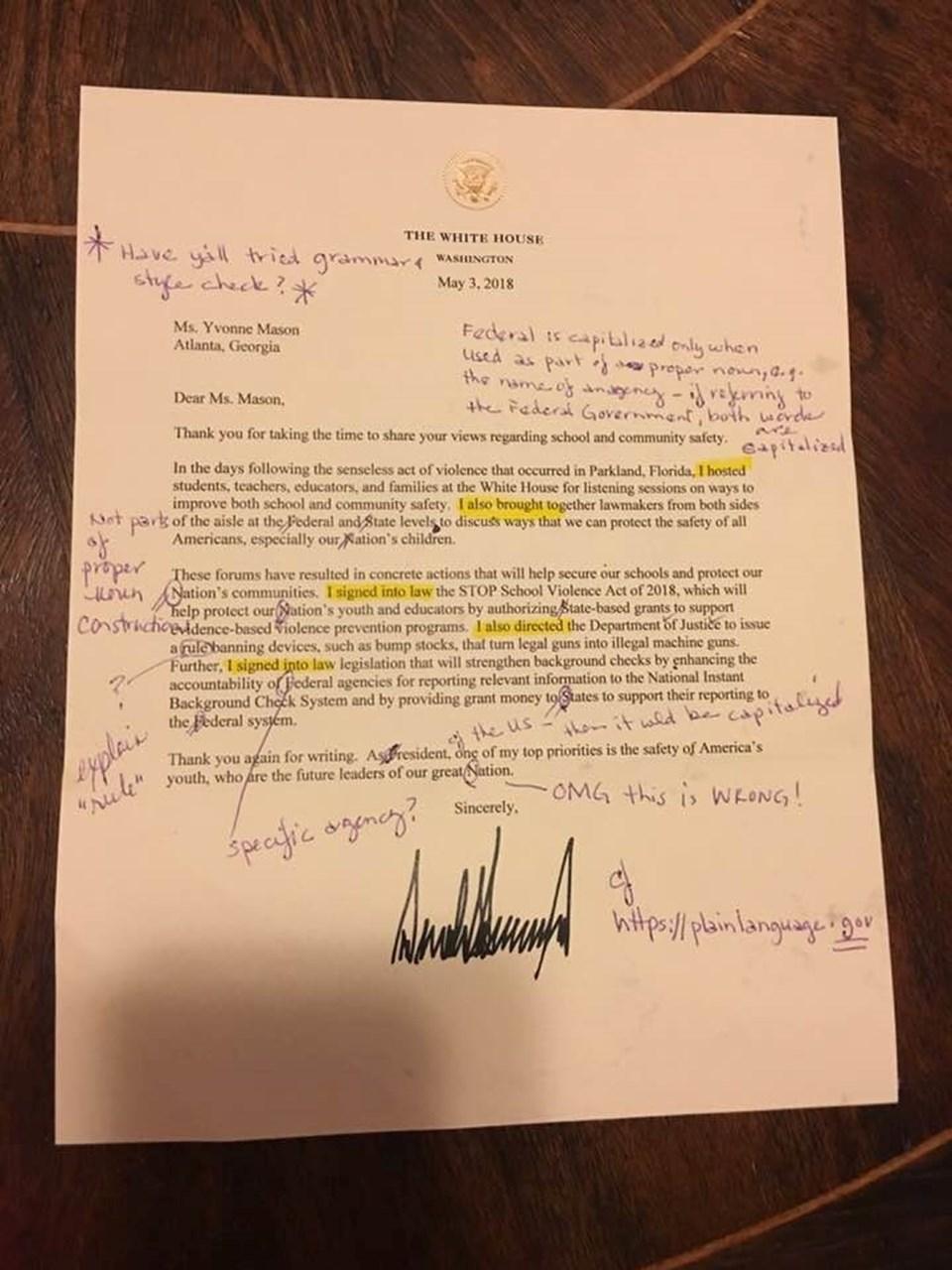 ABD Başkanı Domald Trump'ın emekli öğretmen Yvonna Mason tarafından değerlendirilen mektubu sosyal medyada büyük ilgi gördü.