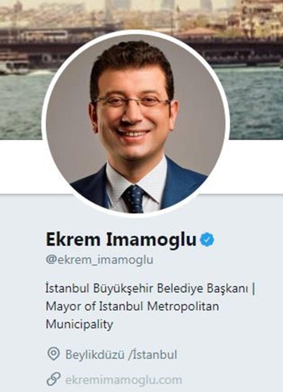 Ekrem İmamoğluTwitter profilini, İstanbul Büyükşehir Belediye Başkanı olarak güncelledi.