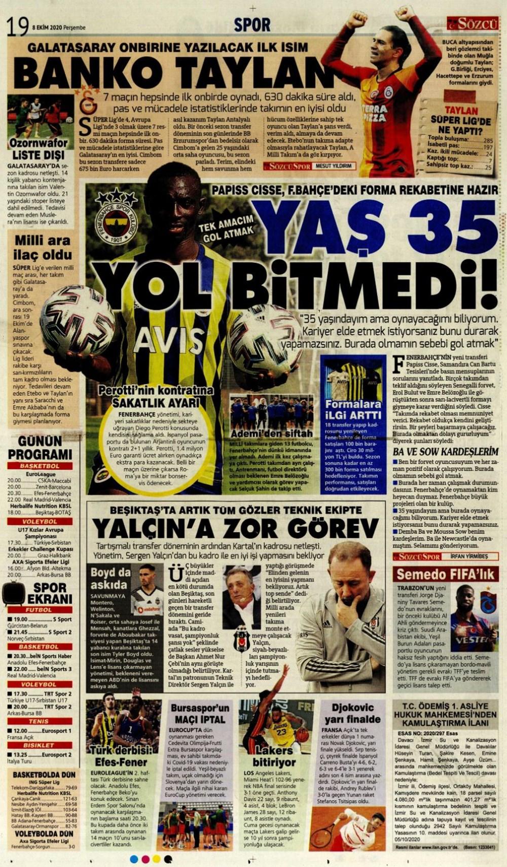Günün spor manşetleri (8 Ekim 2020) - 9