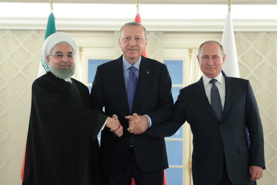 Erdoğan, Putin ve Ruhani üçlü zirve öncesi aile fotoğrafı çektirdi