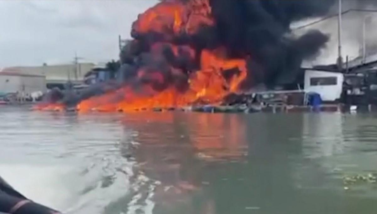 Yanan gemide söndürme işlemi esnasında patlama meydana geldi