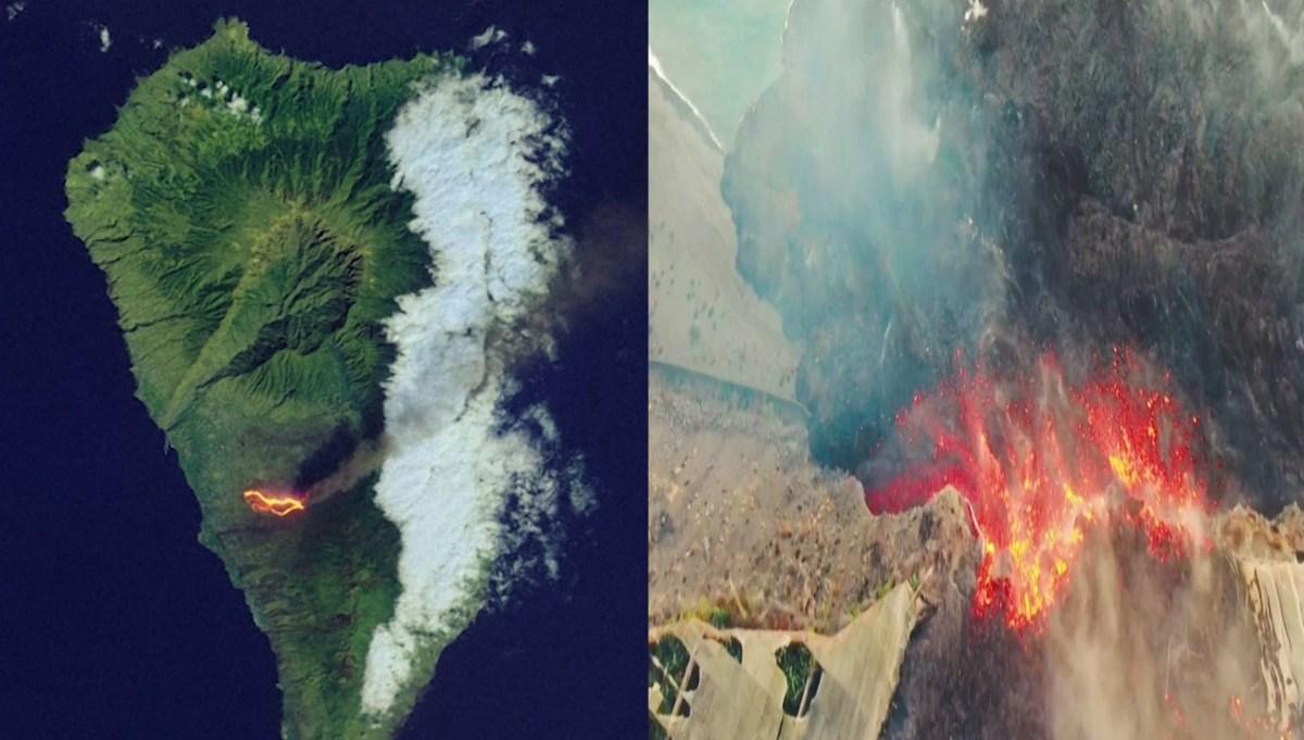 La Palma'daki yanardağ patlamaları uydudan böyle görüntülendi
