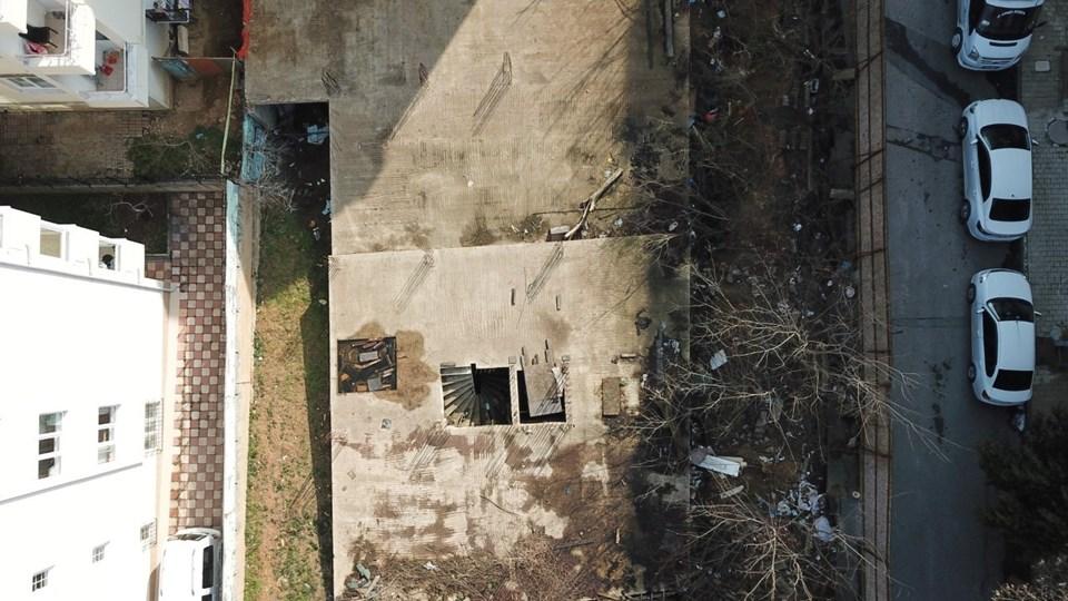 Küçük çocukların hayatını kaybettiği inşaat alanı havadan görüntülendi.