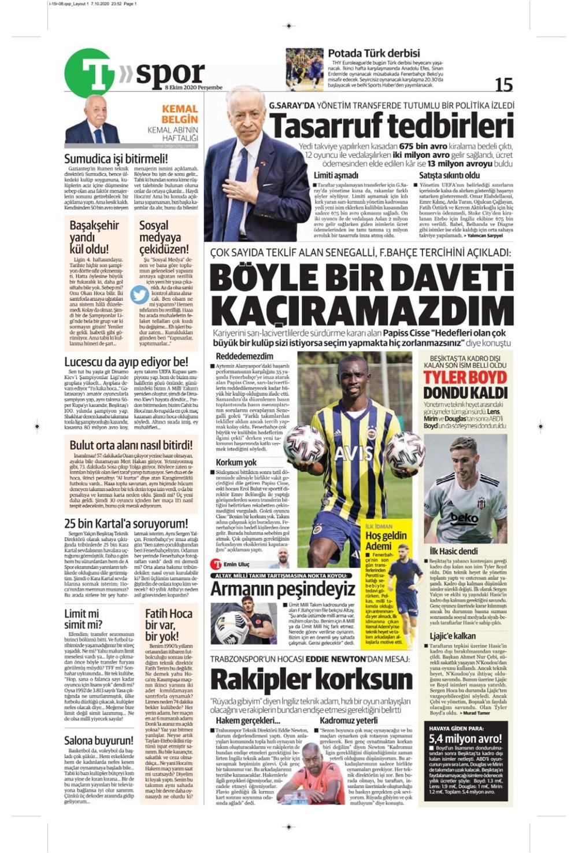 Günün spor manşetleri (8 Ekim 2020) - 15