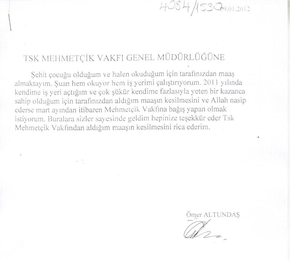 Mehmetçik Vakfı'nın dergisinde yer alan dilekçeyi okumak için tıklayın
