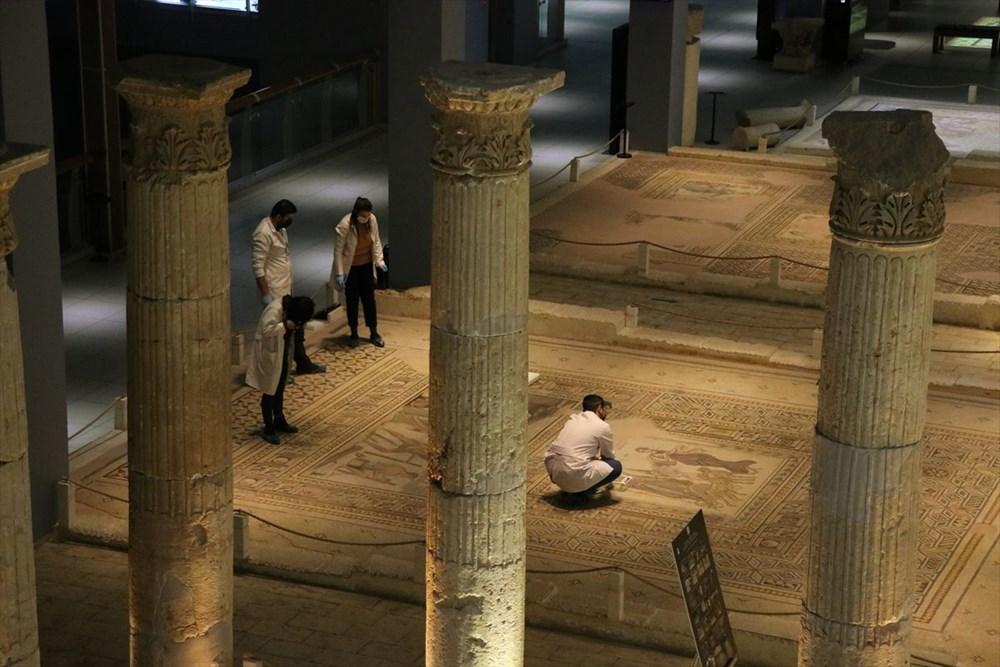 Zeugma Mozaik Müzesi'ndeki eserler, cerrah hassasiyetiyle temizlenerek geleceğe aktarılıyor - 14