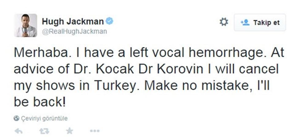 Jackman, hayranlarına üzücü haberi Twitter üzerinden duyurdu