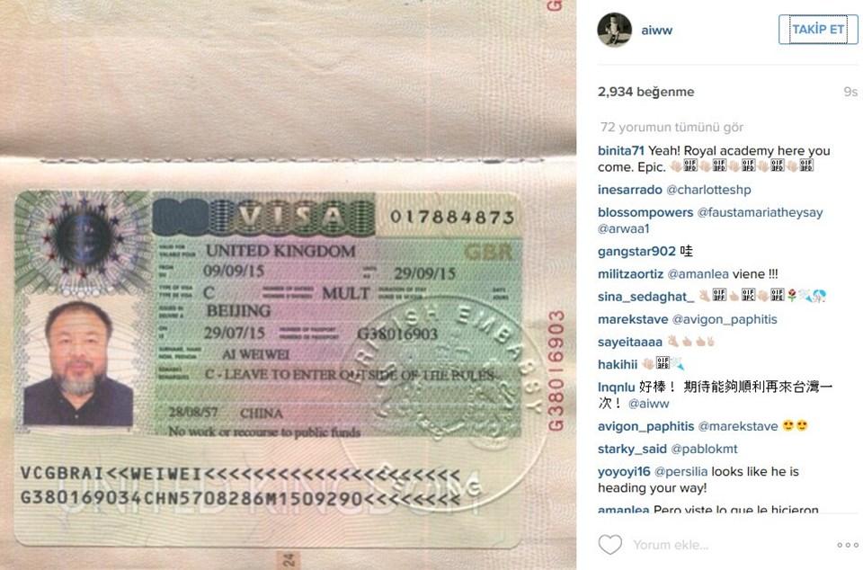 Çinli sanatçı aldığı vizenin fotoğrafını da Instagram hesabından paylaştı.
