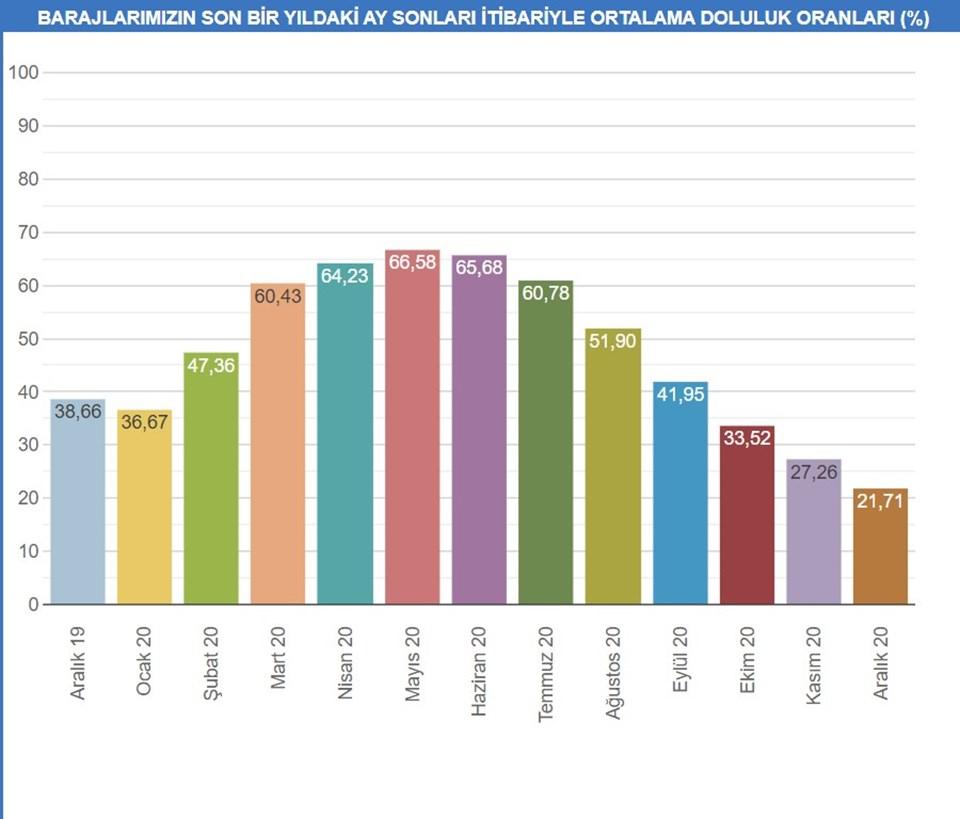 Son bir yıldaki ay sonları itibariyle ortalama doluluk oranı