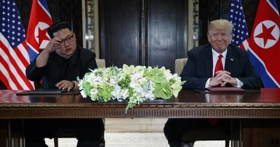 ABD Başkanı Trump (sol) ile Kuzey Kore lideri Kim, 12 Haziran'da Singapur'da bir araya geldi.