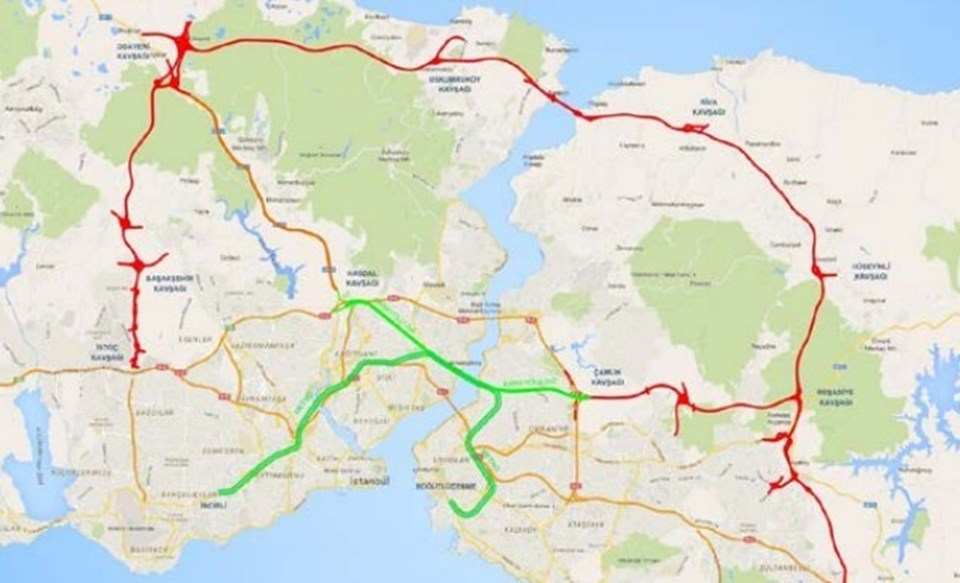 Projenin geçtiği bölge haritada yeşil çizgili alan.