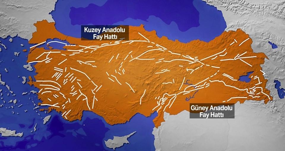 Türkiye genelindeki fayların görünümü.