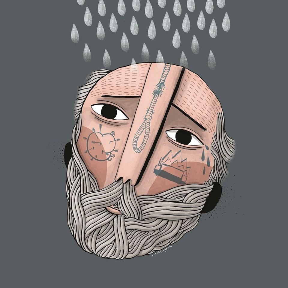 YÖKŞ'ün 'Ben Niye Şanssızım' şarkısına çizilen illüstrasyon. (Şarkı sergisindeki tümillüstrasyonlar YÖKŞ'ün resmi instagram sayfasında bulunuyor)