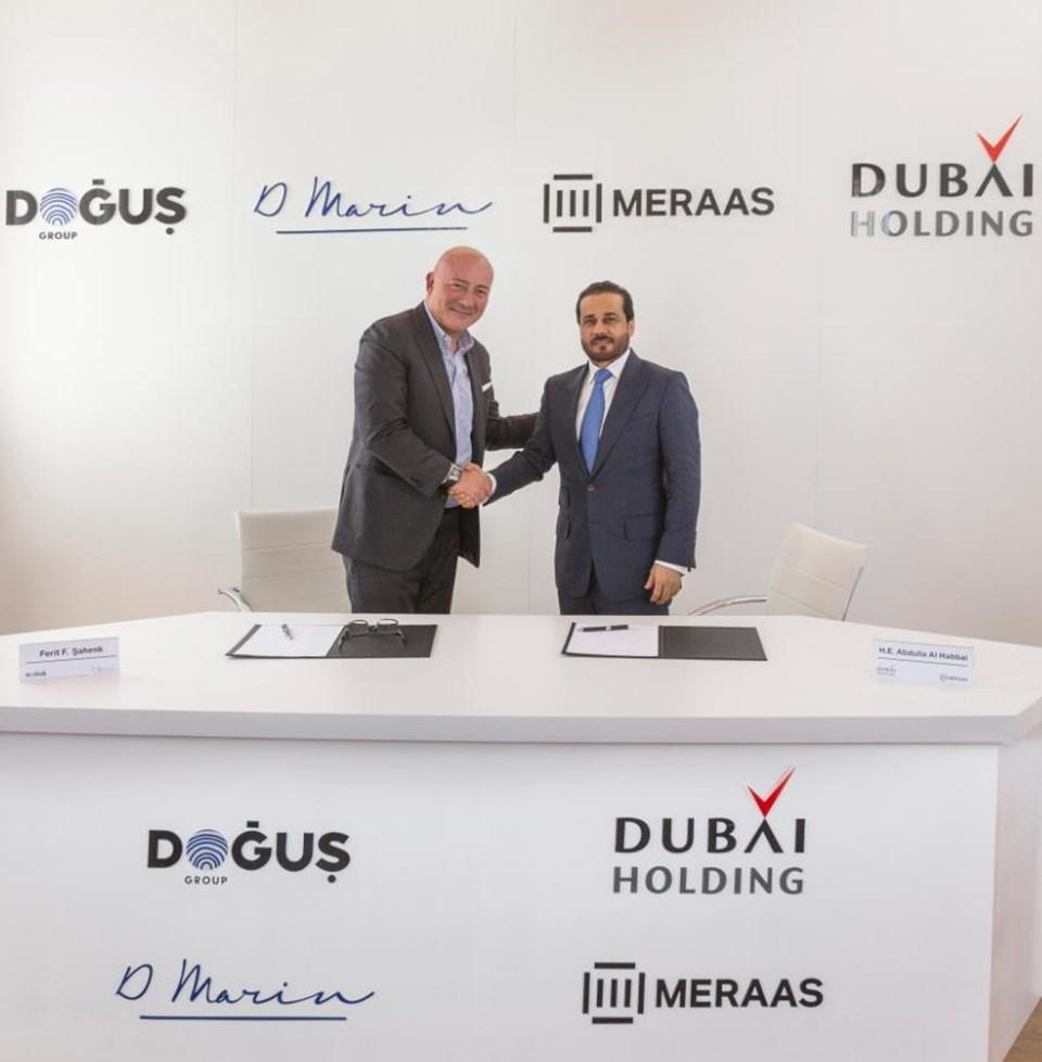 Doğuş Grubu Yönetim Kurulu Başkanı Ferit F. Şahenk veMeraas ve Dubai Holding Yönetim Kurulu Başkanı Abdulla Al Habbai