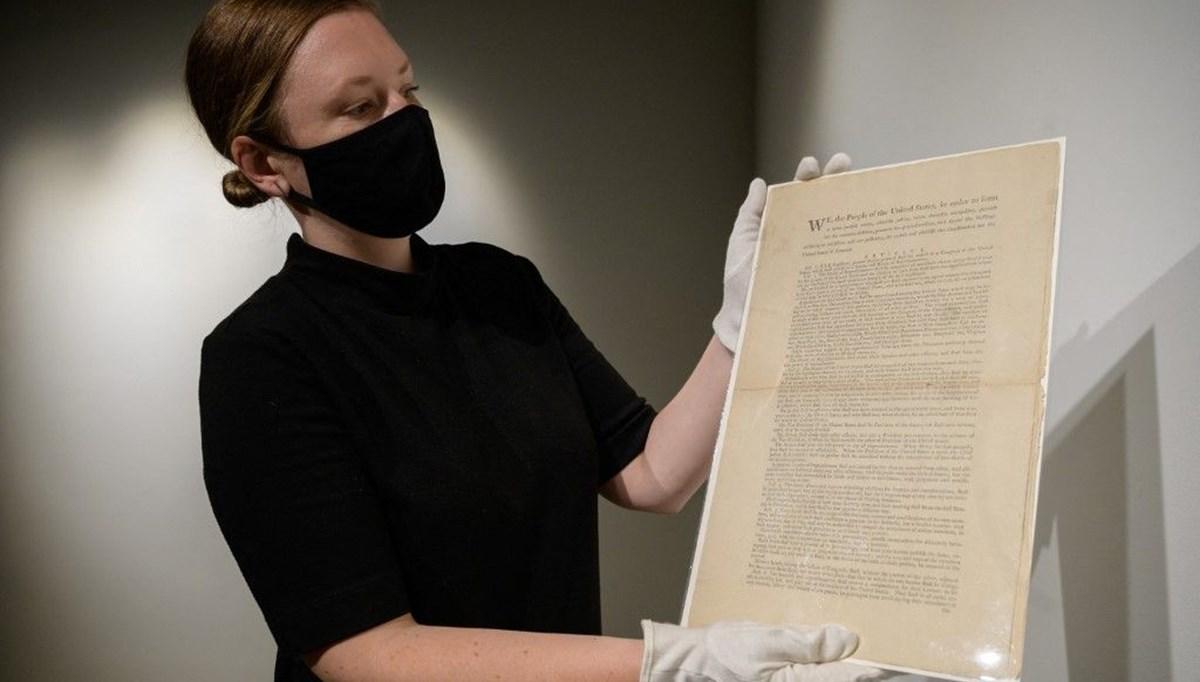 ABD anayasasının ilk baskısı açık artırmada: Tahmini değeri 15 milyon dolar