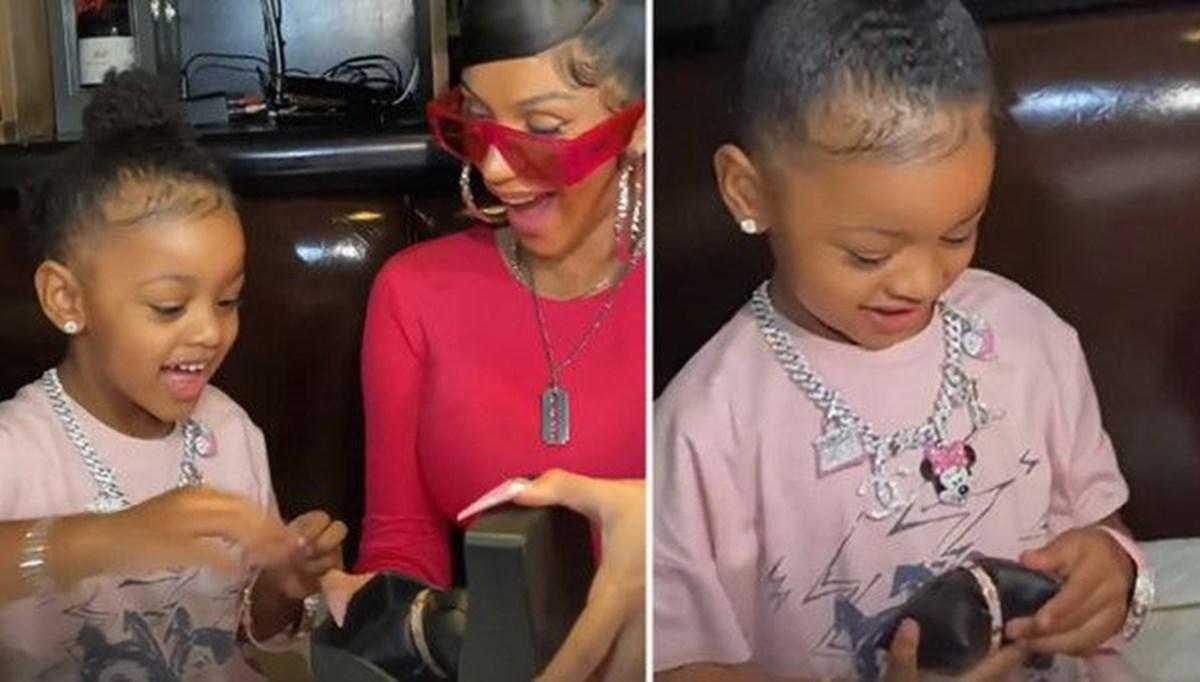 Cardi B'den üç yaşındaki kızı  Kulture'a 124 bin dolarlık gerdanlık