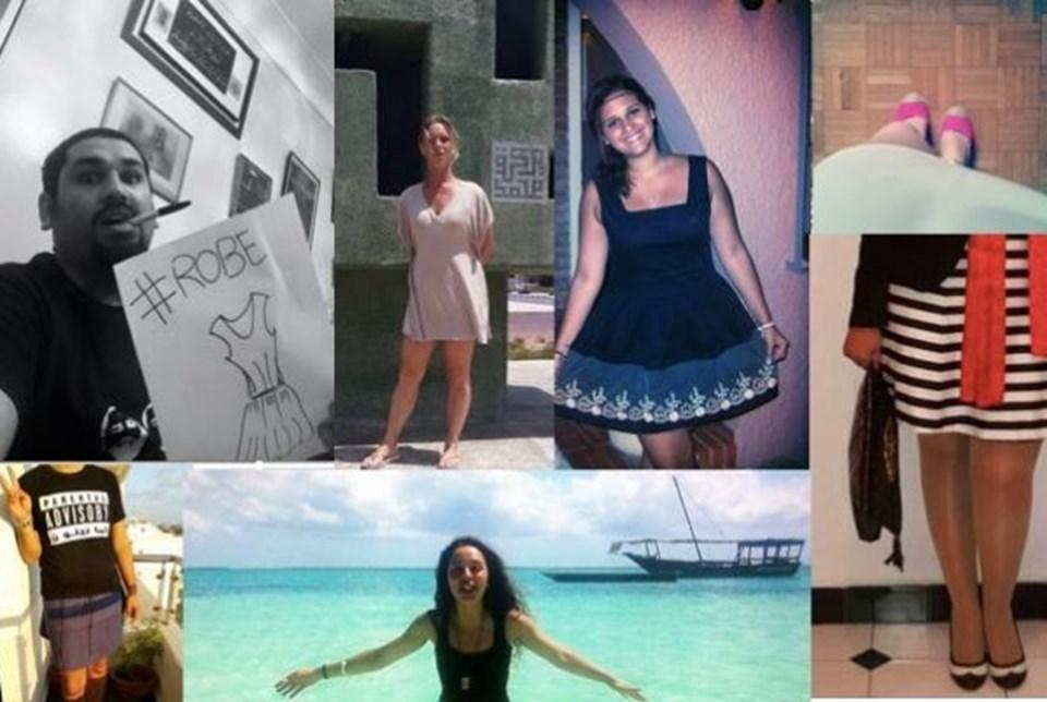 Fas'taki yasaklara karşı kadınlar sosyal medyadan çeşitli kıyafetlerle destek verdi.