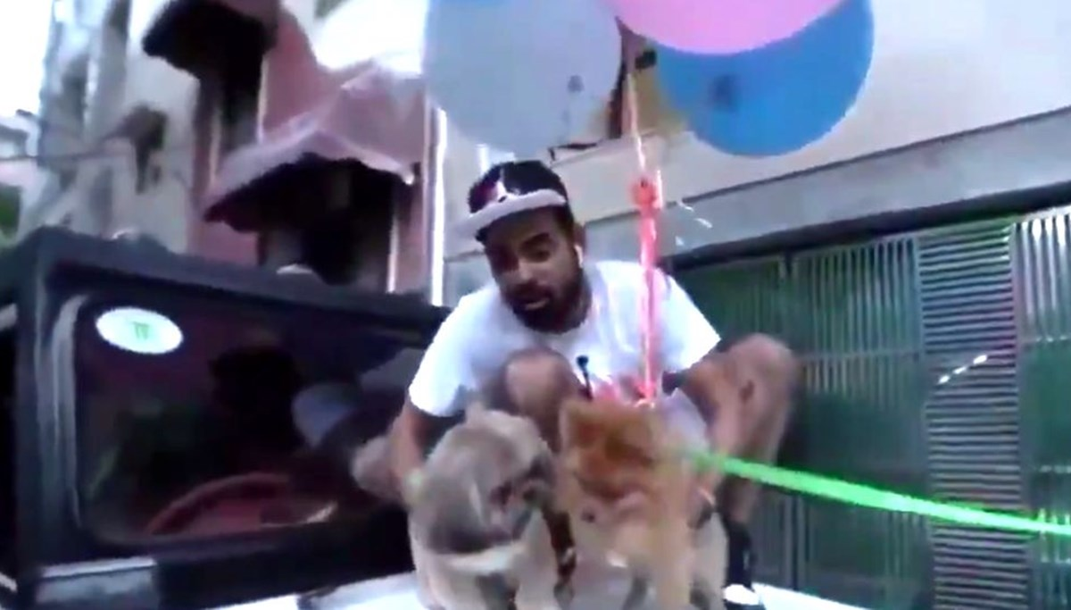 Hindistan'da köpeğini balonlara bağlayarak uçurmaya çalışan Youtuber gözaltına alındı