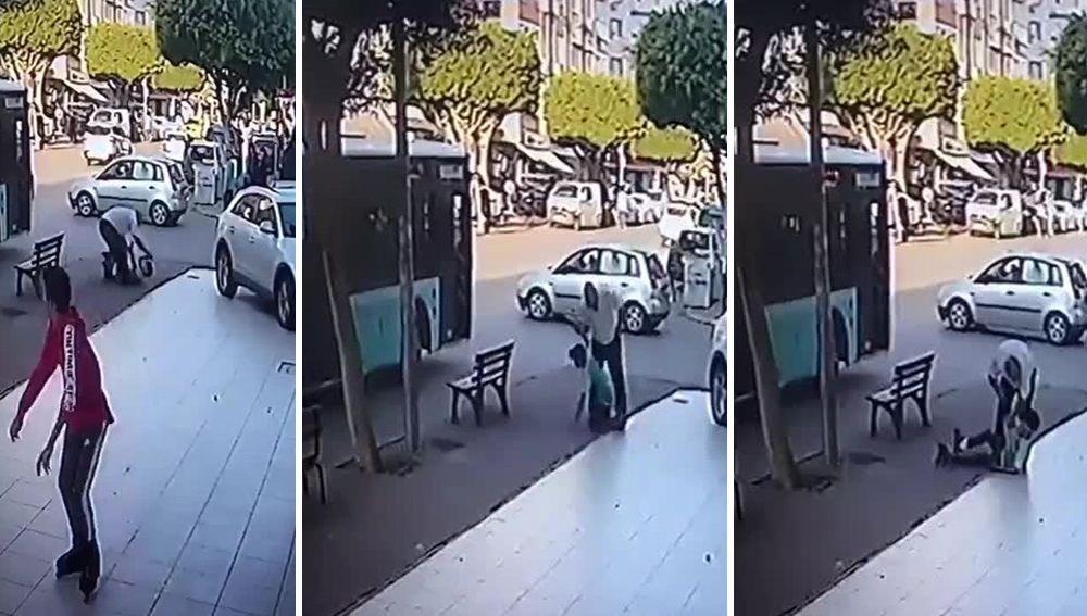 Antalya'da otobüse tutunan patenci çocuğa şoförden dayak
