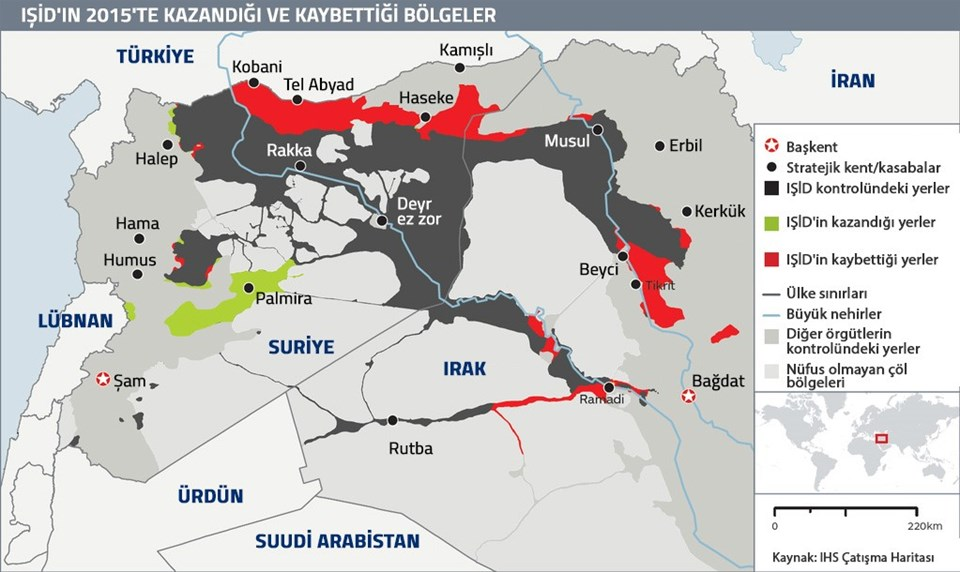Terör örgütü IŞİD'in Irak ve Suriye'de 2015'te kaybettiği ve kazandığı bölgeler