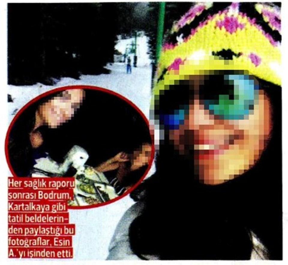 Esin A'nın raporluyken, Instagram'daki kar tatili paylaşımları dava dosyasına girdi.