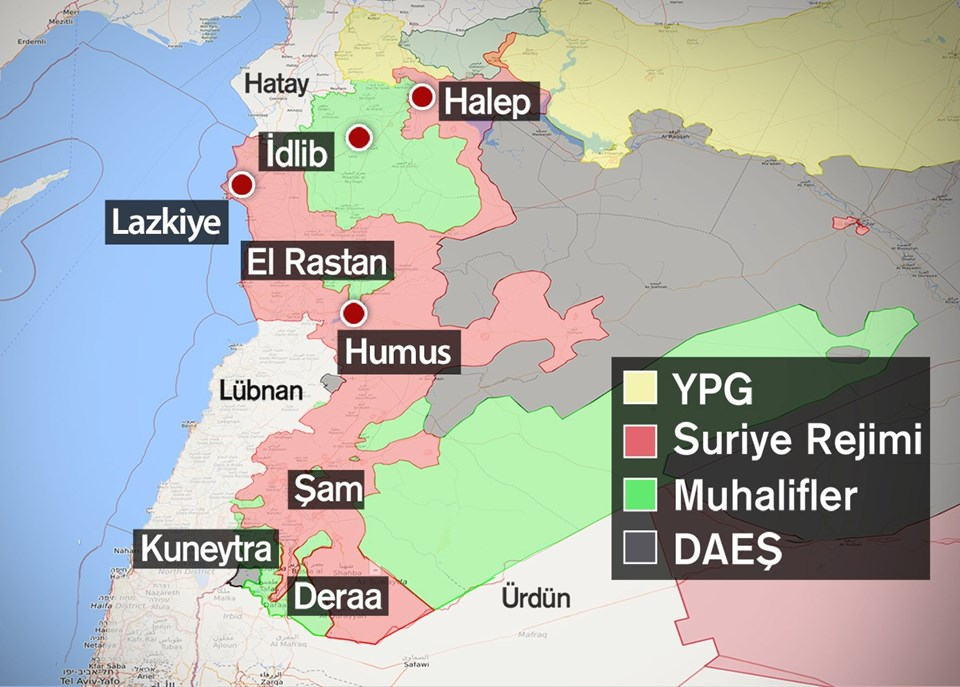 Oluşturulan güvenli bölgelerin haritası