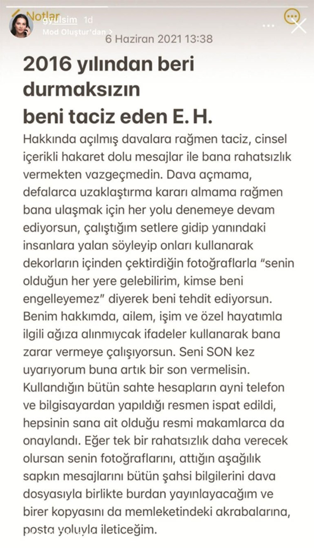 Gönül Dağı oyuncusu Gülsim Ali İlhan tacizciye sosyal medyadan seslendi: Son vermezsen açıklarım! - 5