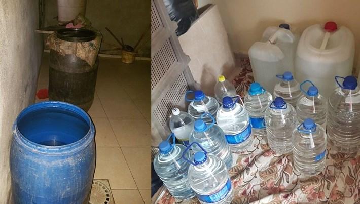 Adana'da satışa hazır 865 litre rakı ele geçirildi