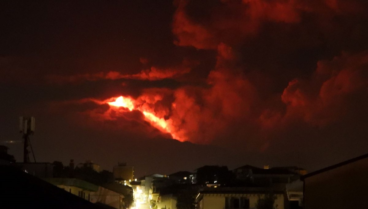 Etna Volcano in Italy continues to erupt lava