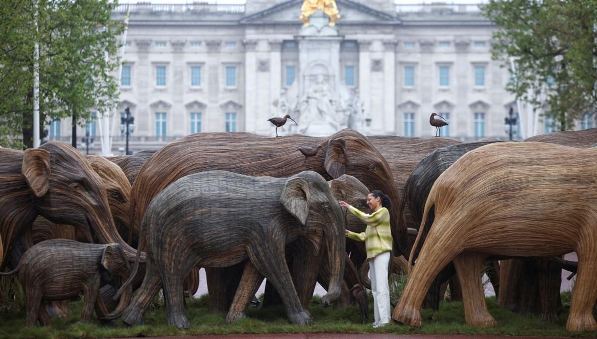 Londra'da Buckingham Sarayı önünde gerçek boyutlu filler sergisi