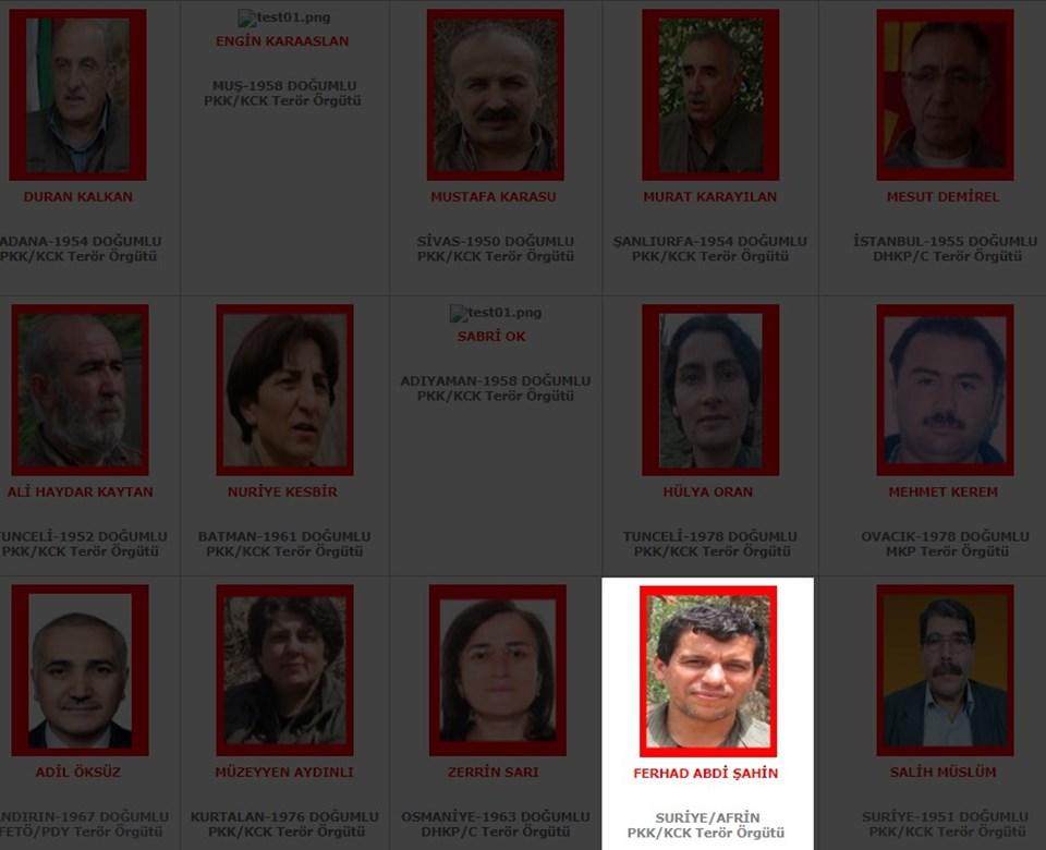 İçişleri Bakanlığı'nın terörden arananlar listesi