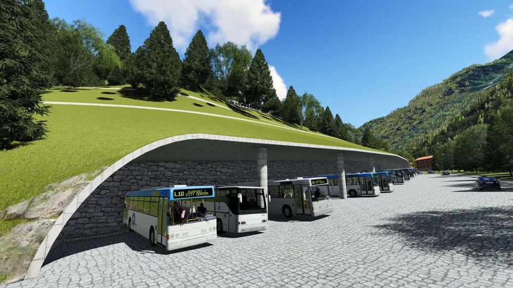Environmental friendly parking lot inside the mountain in Ayder Plateau - 13
