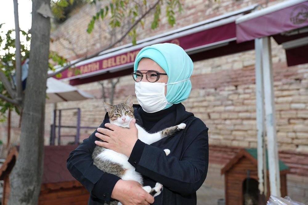 """Emine Erdoğan, 4 Ekim Dünya Hayvanları Koruma Günü'ne dair sosyal medya üzerinden şu mesajı paylaştı;<br /><br />""""Barınaklar, onlara yuva verecek ya da koruyucu aile olabilecek insanları bekleyen dostlarımızla dolu. Lütfen evcil hayvanları satın almayalım, sahiplenelim. Etrafımızdaki hayvanlara bir kap su, bir kap mama vererekyaşamlarına yardımcı olalım. 4 Ekim Hayvanları Koruma Günü kutlu olsun. Dün Yedikule Hayvan Barınağı'nı ziyaret ettim. Büyük bir vicdani sorumluluğu sırtlanmış tüm barınak gönüllülerini yürekten tebrik ediyorum."""
