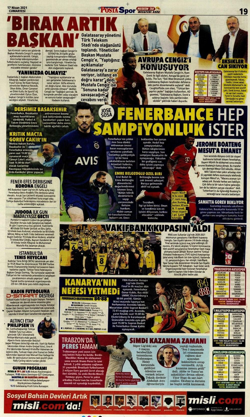 Günün spor manşetleri (17 Nisan 2021) - 16