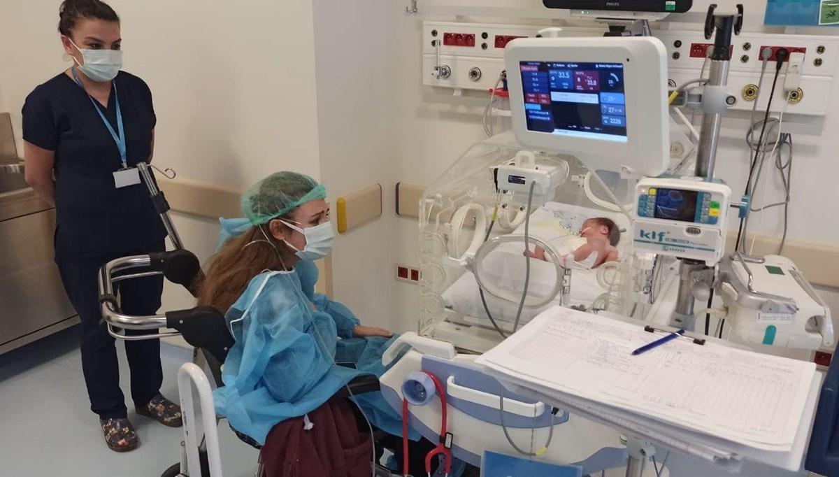 Covid-19 olduğu için erken doğum yapan kadın 21 gün sonra bebeğini yakından gördü