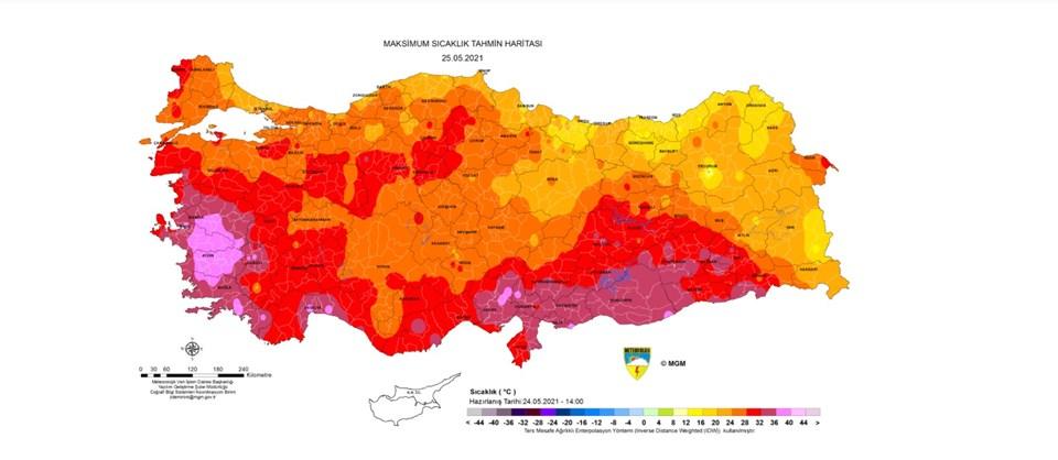 Türkiye'de yarın beklenen en yüksek sıcaklık tahmini haritası.
